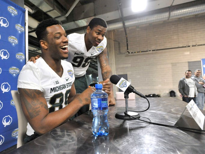 Spartan Shilique Calhoun gets a surprise visit from