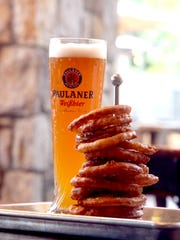 The beer-battered onion ring tower at Port Chester's Village Beer Garden.