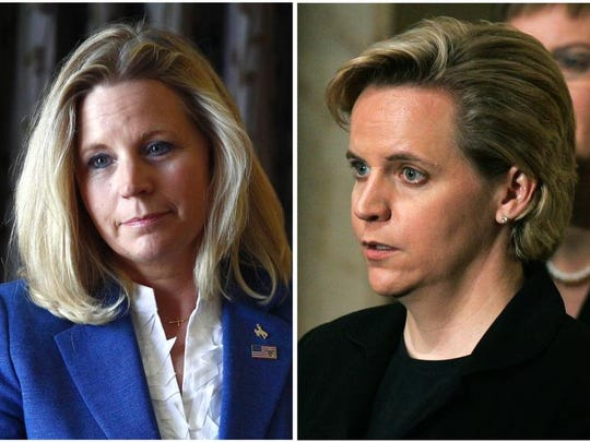 Mary Cheney, right, the daughter of former Vice President Dick Cheney, will visit Indianapolis for a fundraiser for the Freedom Indiana anti-gay marriage ban coalition on Dec. 11. At left is her sister, Liz Cheney, who is running in the Republican primary for U.S. Senate seat in Wyoming. The sisters have disagreed publicly this month over Liz Cheney's opposition to same-sex marriage. Associated Press file photos.