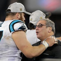 Jan 24, 2016; Charlotte, NC, USA; Carolina Panthers general manager Dave Gettleman celebrates after beating the Arizona Cardinals in the NFC Championship game at Bank of America Stadium in Charlotte, North Carolina on Jan. 24.