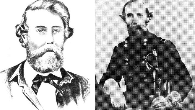 Thomas Noakes (left, a self-portrait) saw two deserters hanging from a tree in Corpus Christi in May 1862, the second year of the war. Brig. Gen. E. J. Davis (right), a former Corpus Christi judge, came within an eyelash of being hanged on the border in 1863. He later became governor of Texas.