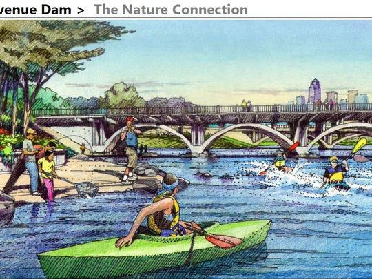 Sketch of the Scott Street dam improvements under water
