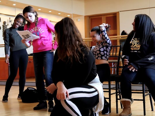 "Newark Public School students rehearse the play ""Slut."""