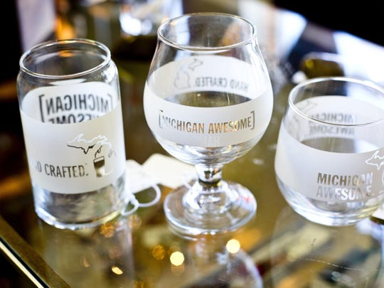 Michigan-themed glasses on display Wednesday, September 23, 2015 at The Mercantile of the Great Lakes, 1306 McPherson St. in Port Huron.