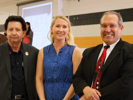 Dr. Juan Garcia, president of LULAC 8095, Lauren Armstrong, immigration attorney, and Dennis Montoya, LULAC State Director, gather during Saturday's event at Alamogordo High School.