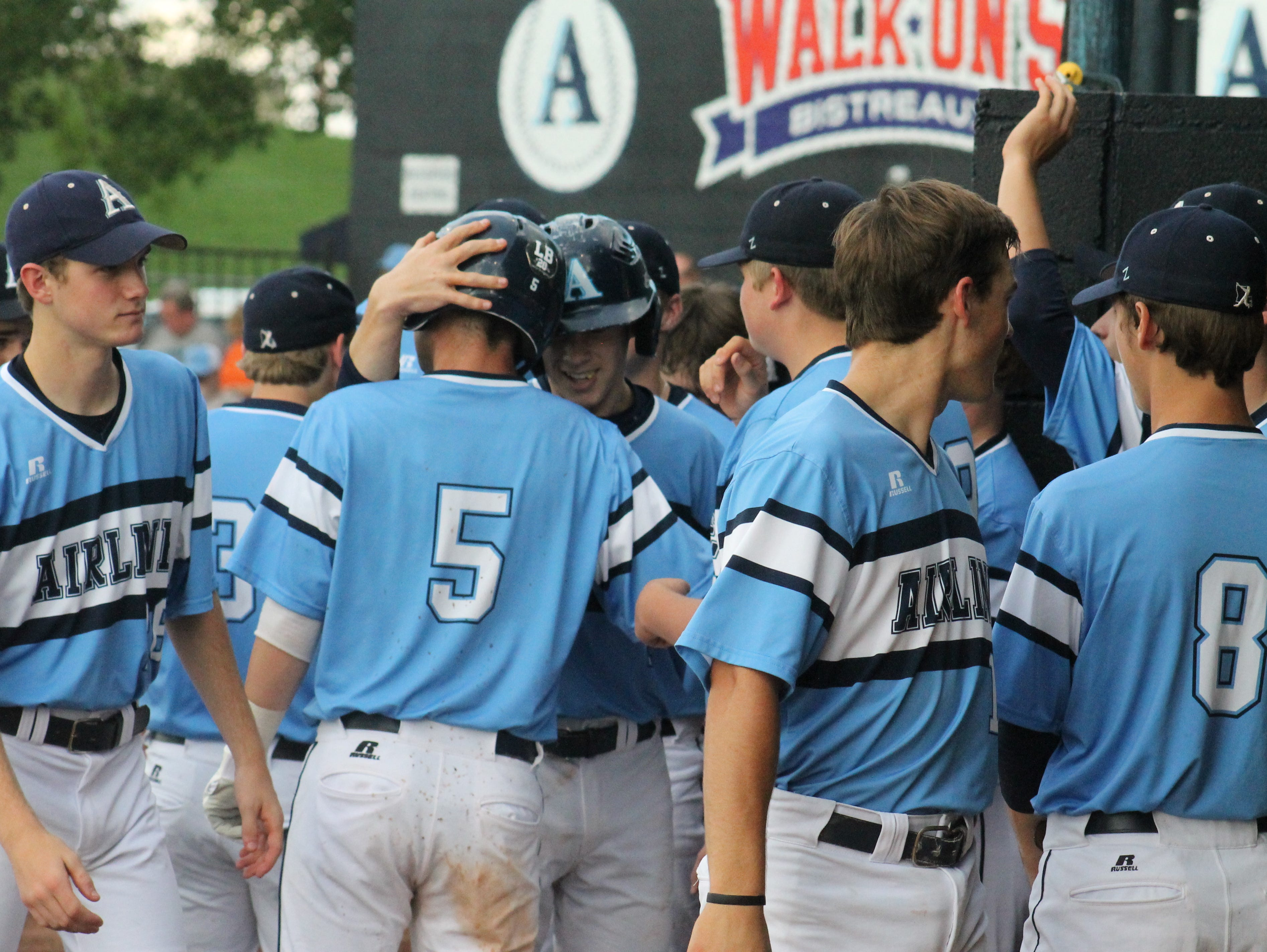 Airline High School celebrates a score Thursday evening against Haughton. The Vikings clinched another outright District 1-5A title.