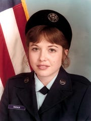 Sandy Britt, basic training graduation photo, Lackland AFB, Texas.