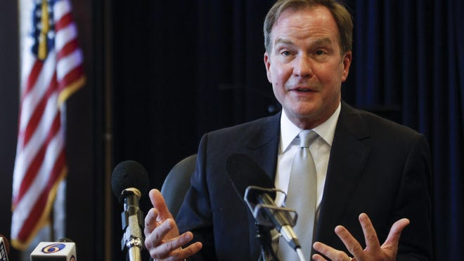 Michigan Attorney General Bill Schuette has traveled to Iowa to advocate for GOP presidential candidate Jeb Bush, one of many Michigan politicians and activists hoping to influence the results of Monday's Iowa caucuses.