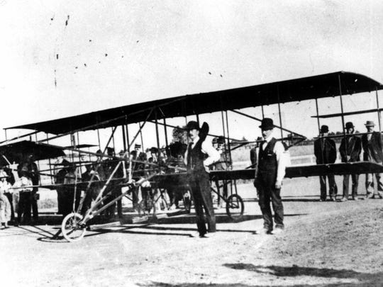 This airplane, built in Salem by Dr. H.H. Scovell and Ben Taylor, retires in 1910 to become an Oregon State Fair exhibit after three unsuccessful attempts at flight.