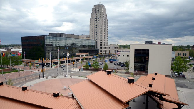 Festival Market Square, Kellogg Co. facilities, the Kendall Center and the Battle Creek Tower can be seen in this view of downtown Battle Creek.