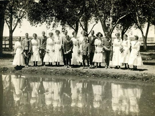 """Pictured are Alamogordo High School graduates in 1910. Photographs such as this will be part of the """"Dressed for the Occasion"""" exhibit at the New Mexico Farm & Ranch Heritage Museum."""