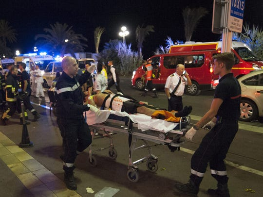 The wounded were evacuated by emergency teams from