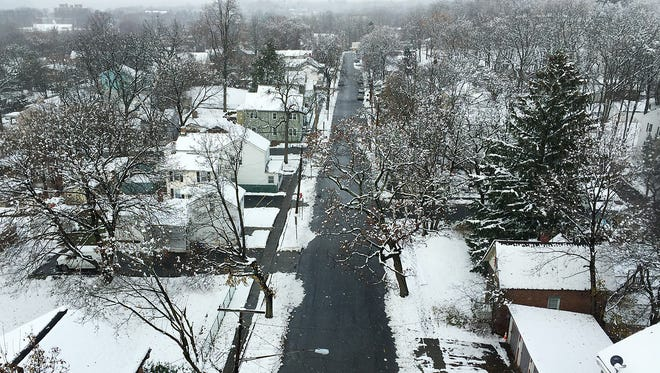 A snowy City of Poughkeepsie on Thursday as seen from the Walkway Over the Hudson.