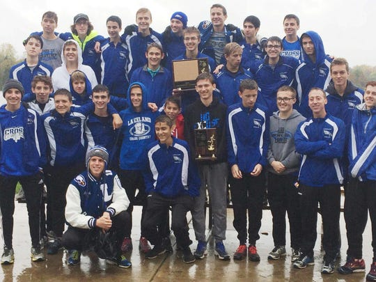 The Lakeland boys cross country team won the Lakes Conference title Thursday at Island Lake State Park.