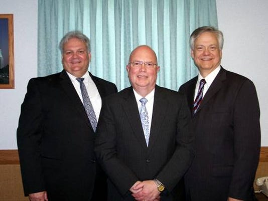 There is a new Bishop of the York Ward, The Church of Jesus Christ of Latter-day Saints, 2110 Hollywood Drive, York Township: Left to Right   Second Counselor Clayton Odum, Bishop Michael Derr Wagner, First Counselor Duane Patterson.