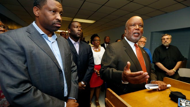U.S. Rep. Bennie Thompson, D-Miss., comments on the Jackson campaign visit of GOP presidential candidate Donald Trump, on Wednesday at NAACP state headquarters in Jackson. Thompson, right, and Derrick Johnson, president of the Mississippi NAACP, spoke before a coalition of black community leaders and area clergy about the candidate's divisive rhetoric degrading people of color and demeaning attitude towards women, and cited some of Trump's previous comments critical about them.