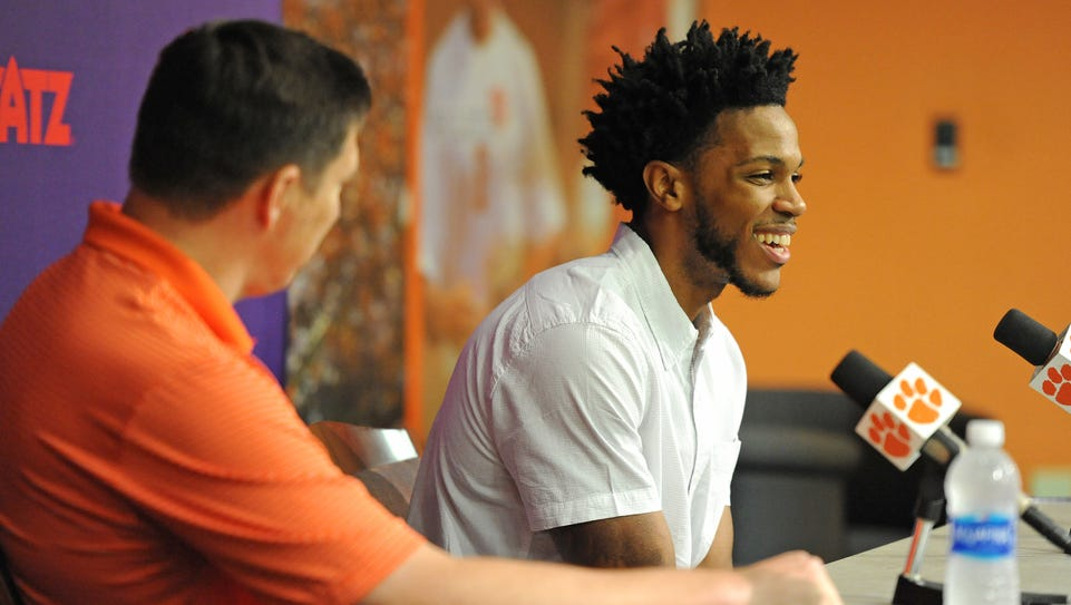 Clemson's Jaron Blossomgame smiles during a press conference