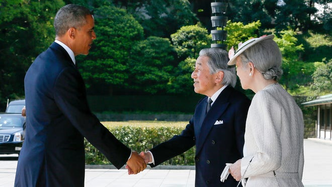 President Obama meets Emperor Akihito and Empress Michiko of Japan.