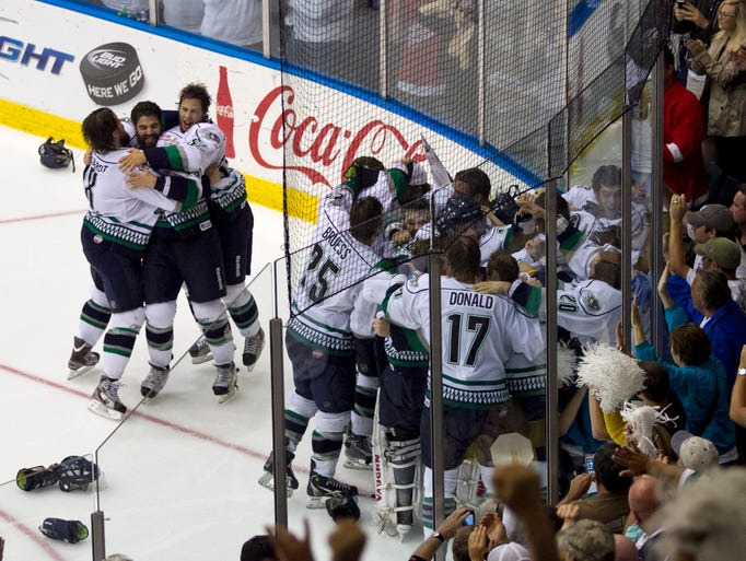 The Florida Everblades celebrate their 3-2 win over