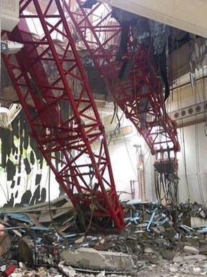 A crane collapsed killing dozens, Friday, Sept. 11, 2015, in Mecca. The accident happened as pilgrims from around the world converged on the city, Islam's holiest site, for the annual Hajj pilgrimage, which takes place this month.