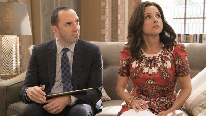 No longer president, Selina (Julia Louis-Dreyfus, right) still has Gary (Tony Hale) by her side in Season 6 of HBO's 'Veep.'