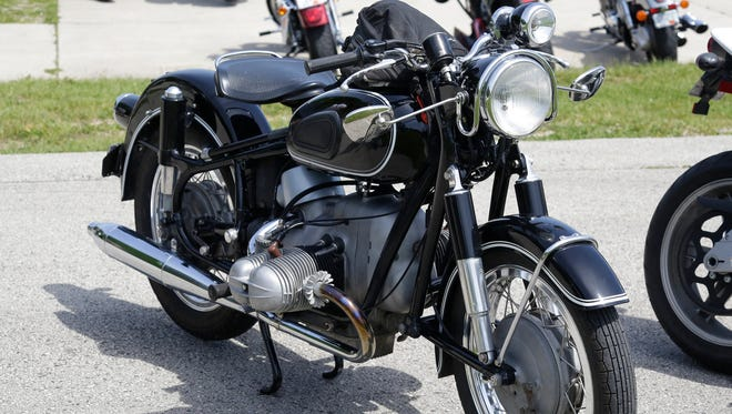 A vintage BMW motorcycle seen at Rockerbox Motofest Saturday June 11, 2016 at Elkhart Lake's Road America.