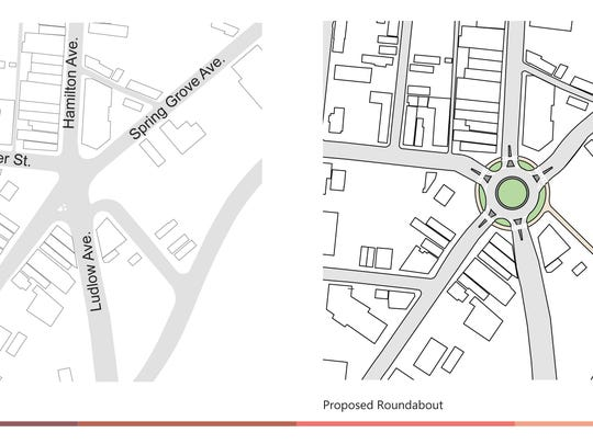A proposal for a roundabout at Knowlton's Corner in Northside.