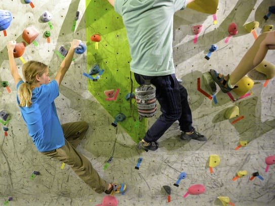 Members of the Hiline Climbing Team practice on Thursday