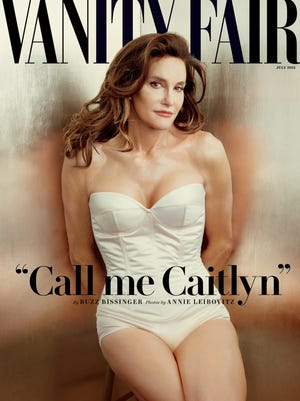 This photo taken by Annie Leibovitz exclusively for Vanity Fair shows the cover of the magazine's July 2015 issue featuring Bruce Jenner debuting as a transgender woman named Caitlyn Jenner.