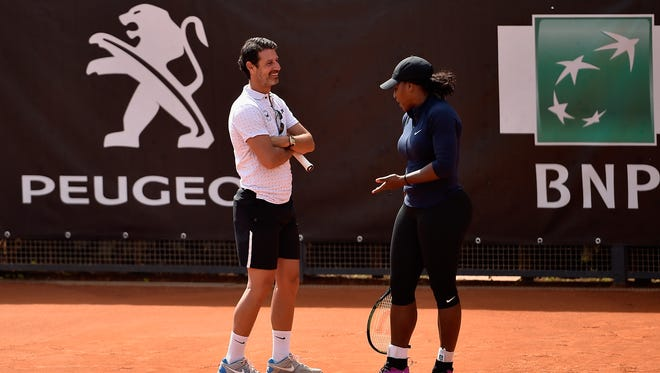 Serena Williams speaks to her coach Patrick Mouratoglou during a training session on Day One of The Internazionali BNL d'Italia 2016 on May 8 in Rome.