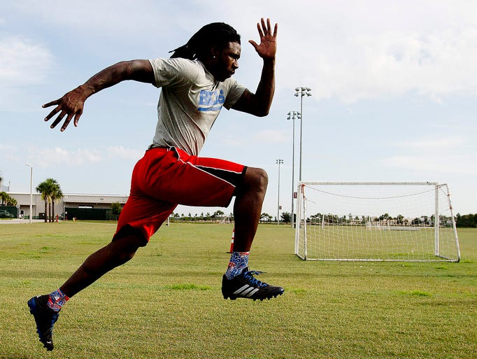 Buffalo Bills wide receiver Sammy Watkins does wind sprints during a workout at the soccer fields at City of Palms Park on Thursday 7/10/2014.  Watkins, a Fort Myers native will be receiving a key to the city in a ceremony on Friday.
