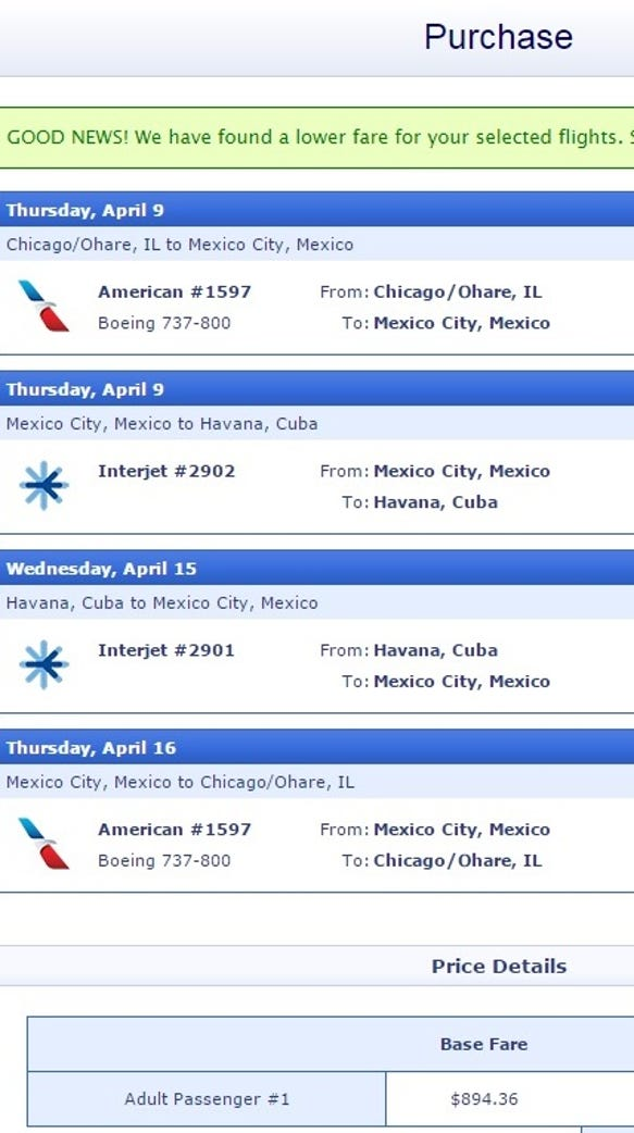 An example of a CheapAir.com itinerary to Cuba.