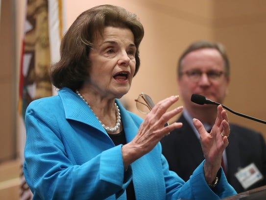 Sen. Dianne Feinstein,  D-Calif., speaks during a press