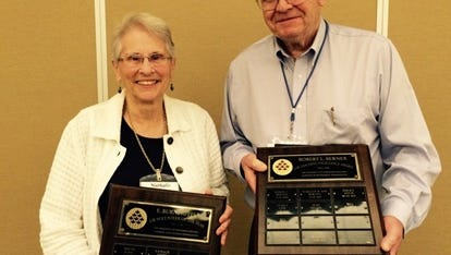 Nathalie Moore and Bill Mattes received recognition at Learning in Retirement's annual meeting June 9.