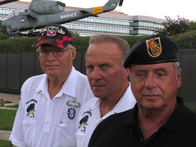 """(l-r)  Former U.S. Army Special Forces members Sgt. Major Herman Spencer, Capt. Bill Clark, and Master Sgt. John C. Owens were the featured speakers Friday night at the """"Heroes Among Us"""" special speaker series held at the Marine Aviation Memorial Bell Tower in Veterans Memorial Park.  Their subject was the Son Tay Prison Raid in Vietnam."""