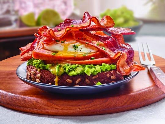 Breakfast Avocado Toast with Bacon and Ham