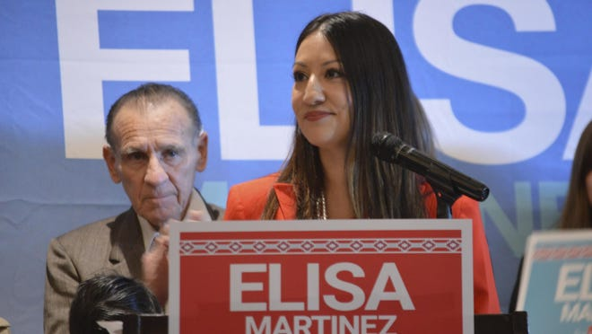 Republican Elisa Martinez speaks to supporters Wednesday in Albuquerque after she announced she will seek the GOP nomination for an open U.S. Senate seat in New Mexico.