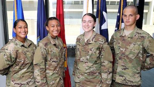Tarleton ROTC cadets, Arianna Rosario, Zemoni Hopkins, Ciara Hopper and Joshua Kilian, each received four-year scholarships.
