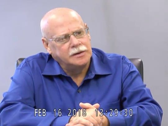 William Popkave, former transportation supervisor of Rockland BOCES, gives videotaped testimony in February for the federal corruption trial of Richard Brega. Popkave pleaded guilty in the case and testified as part of a cooperation agreement with prosecutors.