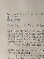 A 1965 letter from Bellevue High School junior Susan