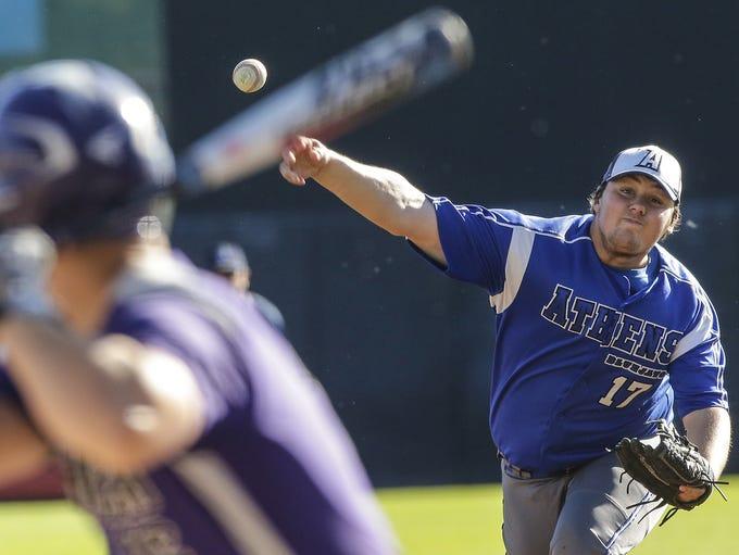 Athens High School baseball's Dakota Willemssen pitches
