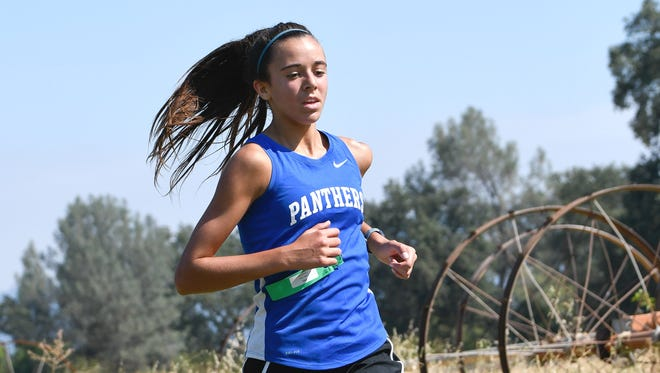 Grace Gaddy of U-Prep runs in the 2018 Bill Springhorn Classic cross country meet at Shasta College.