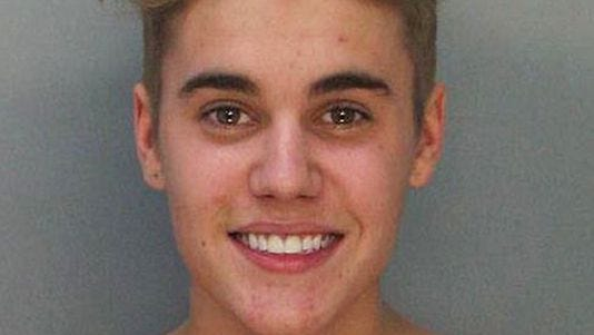 This is Justin Bieber's police booking mug from Thursday morning.