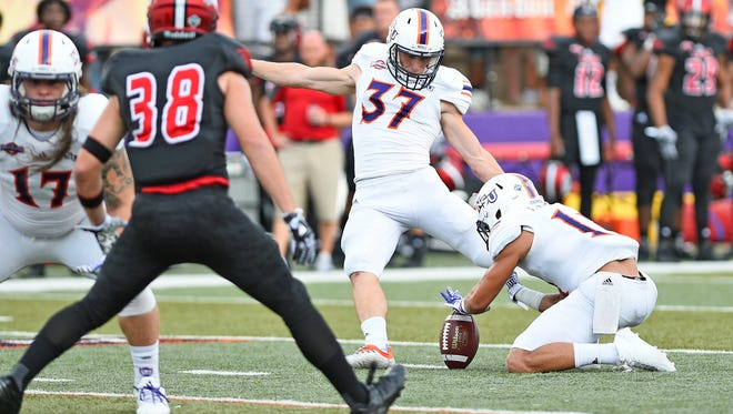 Eric Piccione kicks one of his three field goals in Northwestern State's 21-18 loss to Incarnate Word Thursday night.