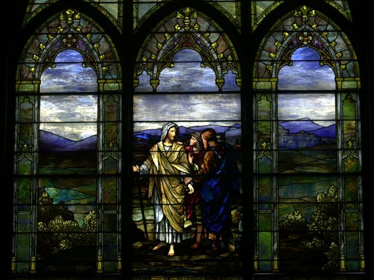"""The Freeman Memorial window, """"The Road to Emmaus"""" at Central Presbyterian Church in Haverstraw. The window is in memory of Rev. Amasa S. Freeman, founder and pastor of the church for over 50 years."""