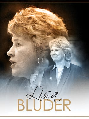 An illustration of former Hawkeye women's basketball coach Lisa Bluder.