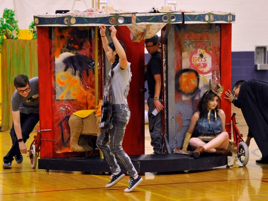 Wylie High School Destination Imagination students perform in their last dress rehearsal May 17 before going to global finals in Knoxville, Tennessee.
