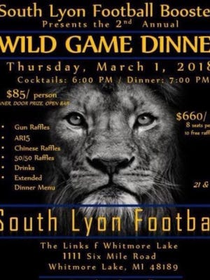 The original invitation for the South Lyon High School football boosters' club Wild Game dinner, where an AR-15 was set to be raffled off.