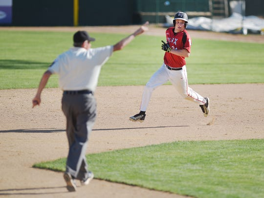 Brandon Valley's Connor Knecht rounds second during the game against Pierre in the Class A state high school baseball championship Saturday, May 26, at Sioux Falls Stadium.