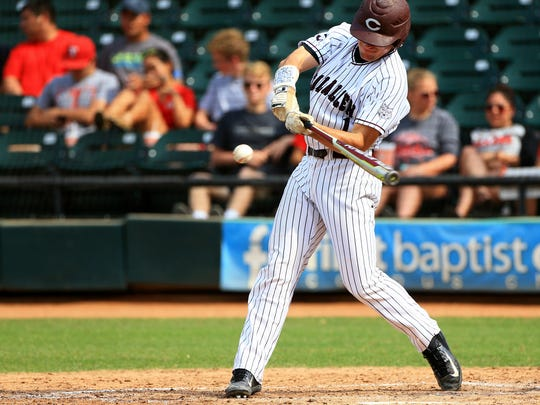 Calallen's John Gaddis bats against Ray during game 3 of the Class 5A regional quarterfinals series on Saturday, May 20, 2017, at Whataburger Field in Corpus Christi.